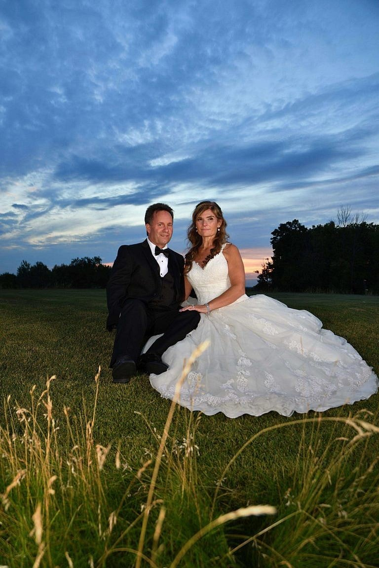 bride and groom at dusk at Bond Head wedding