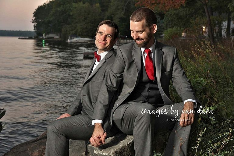 Portraits of two handsome grooms at their Beachwood Resort wedding photography session